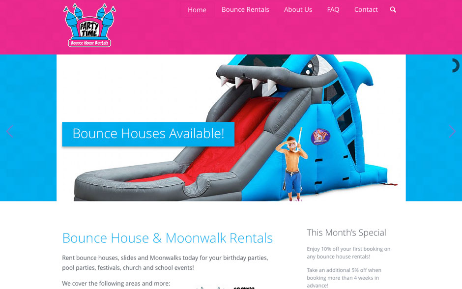 Party Time Bounce House Rentals Web Design & Development